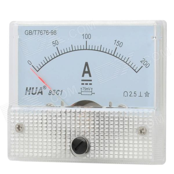 DC 0~200A Square Panel Mounting Analog Amp Current Meter Ammeter - White
