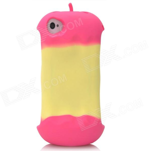 Cool   Shaped Protective silicone Soft Back Case for Iphone 4 / 4S - Deep Pink + Yellow cool skull head style protective soft silicone back case for iphone 4 4s pink