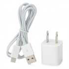 AC Power Adapter Charger + USB Sync Data / Charging Lightning Cable Set for iPhone 5 - White