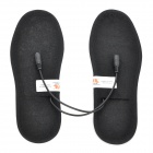 Foot Warmer USB Heated Insoles w/ USB Cable + Battery Case - Black + Blue (Size 38)