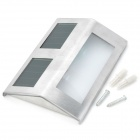 Automatic Solar Powered 2-LED White Light Garden / Wall Lamp Set - Silver