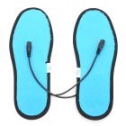 Foot Warmer USB Heated Insoles w/ USB Cable + Battery Case - Black + Blue (Size 37)