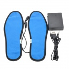Foot Warmer USB Heated Insoles w/ USB Cable + Battery Case - Black + Deep Blue (Size 41)