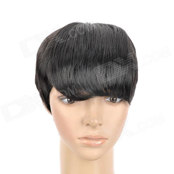 805 2# Fashion Man's Inclined Bangs Short Natural Straight Hair Wig - Black cheap long straight human hair wig with full bangs silky straight brazilian full lace wig with bangs for fashion women