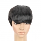 805 2# Fashion Man's Inclined Bangs Short Natural Straight Hair Wig - Black