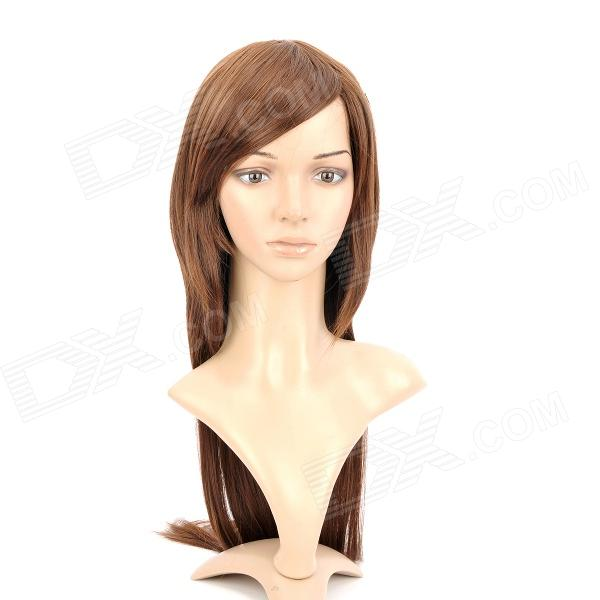 590A 2/30 Fashion Lady's Long Natural Straight Hair Wig - Deep Brown
