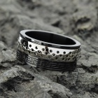 Fashionable Elegant Stainless Steel Ring - Black + Silver (Size US 10)