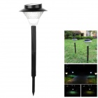Solar Powered Auto Sensor White 8-LED Lawn Lamp Light - Black