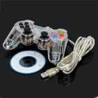USB Wired Vibration Game Controller - Translucent White (180cm-Cable)