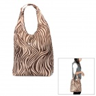 Zebras Pattern Foldable Nylon Waterproof Shopping Bag - Coffee