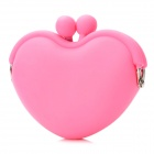 Multi-Function Cute Heart Soft Silicone Wallet Bag - Pink