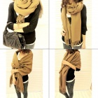 South Korea Style Blended Fabric Long Scarf Shawl - Brown Beige
