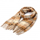 South Korea Style Gird Pattern Blended Fabric Scarf Shawl - Brown Beige