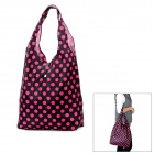 Polka Dot Pattern Foldable Nylon Waterproof Shopping Bag - Black + Deep Pink