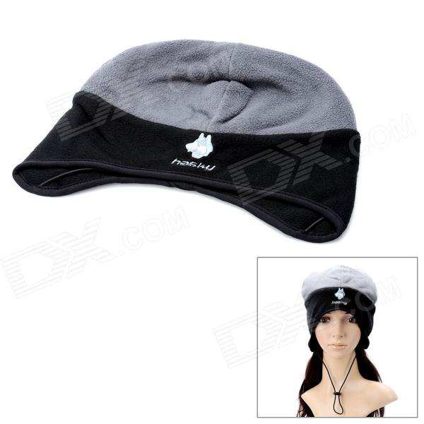 Hasky XQQ-MZ-47 Fashion Protective Fleeces Fabrics Ear Hat - Grey + Black