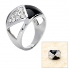 Fashion Skeleton Grid Patten Alloy + Rhinestone Ring - Silver + Black
