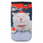 TINDO 0040 Cute Cat Soft Neoprene Protective Pouch Case for iPhone 3G / 3GS / 4 / 4S - Multi-Colored