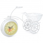 Novelty Iron Crafts Tricycle Style Clock w/ Gadget Holder - White (1 x AA)
