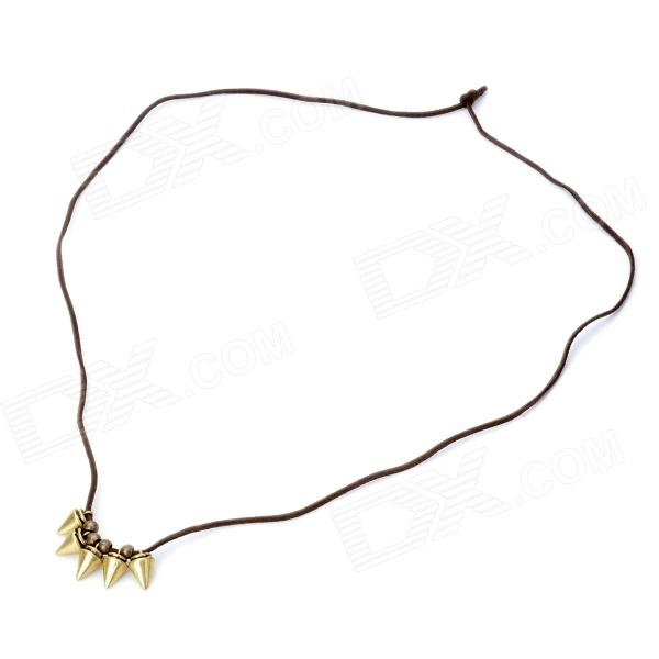 Retro Beast Teeth Shaped Cooper Plating Necklace w/ Strap - Pearl Gold + Brown