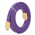 Red Foliage Golden Plated 1080P HDMI V1.4 Male to Male Connection Flat Cable - Purple (300cm)