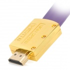 Red Foliage Golden Plated 1080P HDMI V1.4 Male to Male Connection Flat Cable - Purple (150cm)