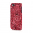 Wood Grain Pattern Protective Plastic PU Leather Back Cover Case for Iphone 5 - Red