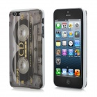 Classic Tape Pattern Protective Plastic Back Cover Case w/ Screen Guard Film for iPhone 5 - Grey