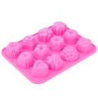 12-in-1 Soft Rubber Cake / Bread / Mousse / Jelly / Chocolate Mold - Deep Pink
