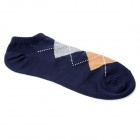 Casual Man's Gird Pattern Pure Cotton Stockings - Deep Blue + Brown + Grey (Pair)