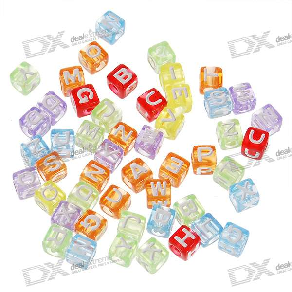 Chainable Colorful Translucent Letter Cubes for DIY Apparels - 7mm (Assorted 50-Pack)