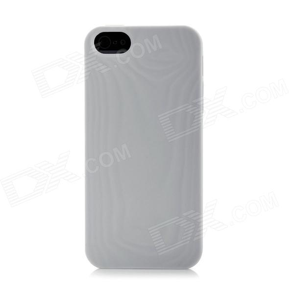 3D Wood Grain Pattern Protective PTU Back Cover Case for Iphone 5 - Grey