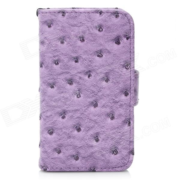Protective Ostrich Texture PU Leather Case Cover with Strap for Iphone 4 / 4S - Purple folio wallet cross texture leather cover case for iphone 7 smile