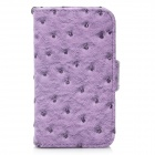 Protective Ostrich Texture PU Leather Case Cover with Strap for Iphone 4 / 4S - Purple