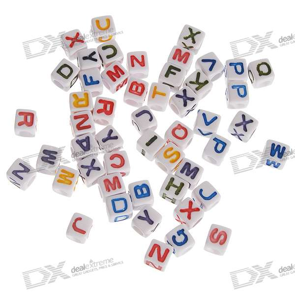 Chainable Colorful Letter Cubes for DIY Apparels - 7mm (Assorted 50-Pack)