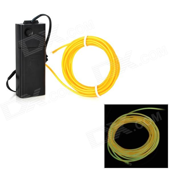 Waterproof Decorative EL Cold Light Flexible Cable w/ Drive - Yellow (3m / 2 x AA)