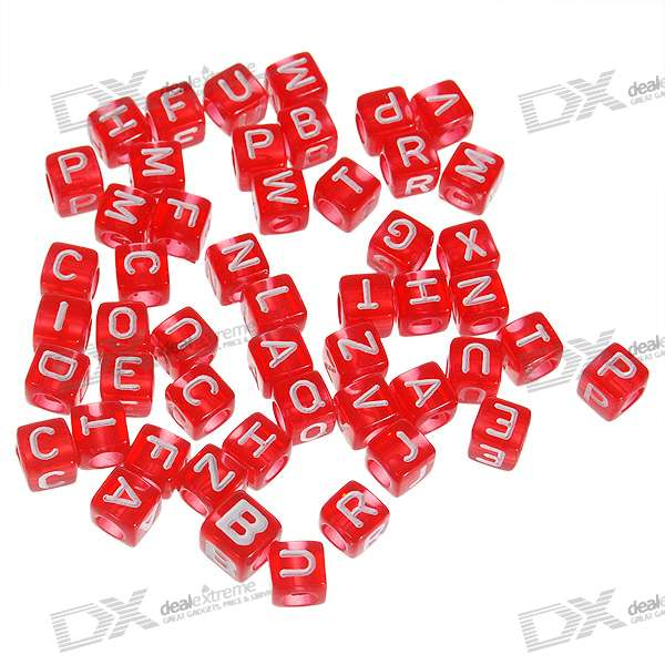 Chainable Translucent Red Letter Cubes for DIY Apparels - 6mm (Assorted 50-Pack)
