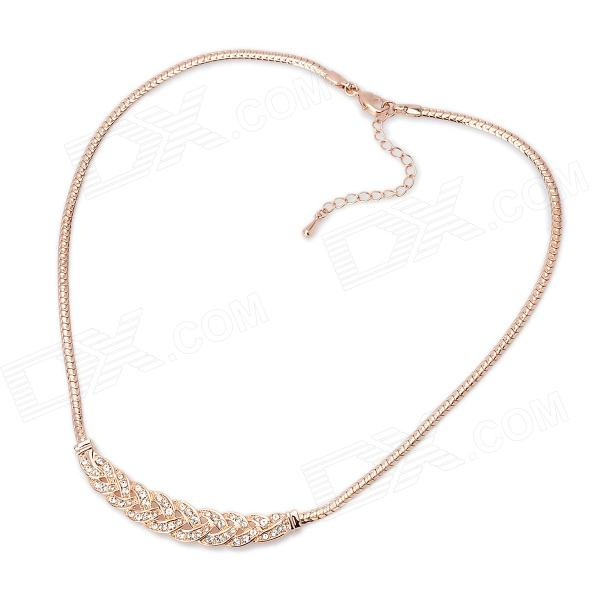 KCCHSTAR BK-842 18K Gold Plated Alloy Chain Artificial Diamond Necklace - Golden kcchstar 18k gold plating zinc alloy v necklace w artificial diamond pendant golden