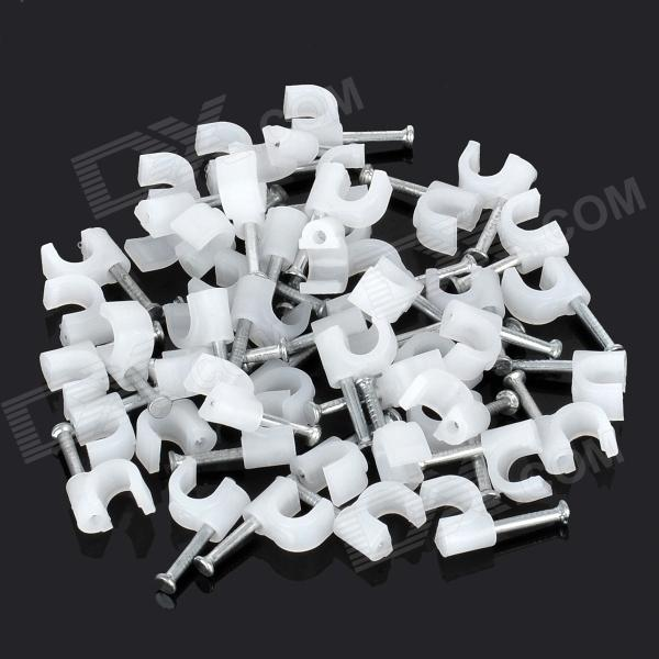 4mm U-Style Wall Mount Screws Anchors - White (50 PCS)