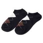 Fashion Man's Gird Pattern Pure Cotton Stockings - Black + Brown + Grey (Pair)