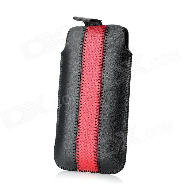 все цены на Overlock Stitch Pattern Protective PU Leather Sleeve Case for Iphone 5 - Black + Red онлайн
