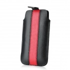 Overlock Stitch Pattern Protective PU Leather Sleeve Case for iPhone 5 - Black + Red