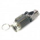 Windproof Adjustable 3-Flame Butane Jet Lighter with Keychain - Black