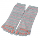 Fashion Woman's Wool Toe Socks - Grey + Pink + Red (Pair)