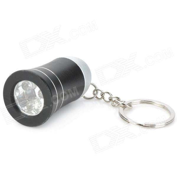 Cute Trumpet Style 3-LED White Light Flashlight Keychain - Black (3 x AG10) mini horn style aluminum alloy 3 led 1 mode white light flashlight keychain red 3 x ag10