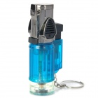 Windproof Adjustable 3-Flame Butane Jet Lighter with Keychain - Blue