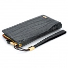 Fashion Cow Leather Hand Wallet w/ 2 Big Cases + 12 Card Slots + Strap - Black