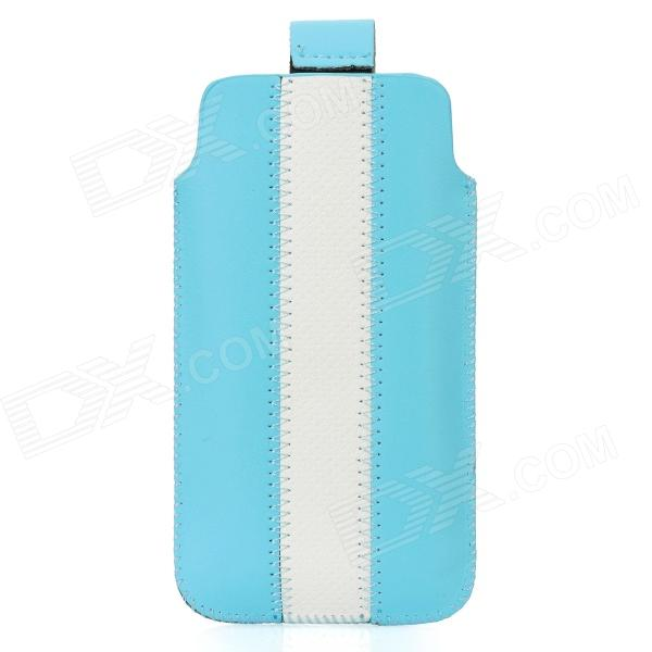 Protective PU Leather Bag Pouch with for Iphone 5 - Blue + White protective pu leather bag pouch with for iphone 5 blue white