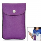 Protective PU Leather Case Pouch Bag with Neck Strap for Iphone + More - Purple