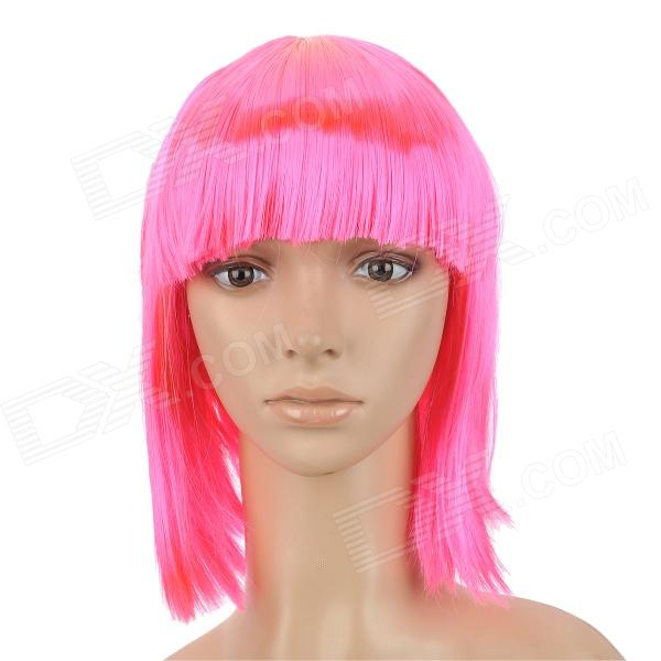 Cosplay Fashion Short Straight Hair Wig - Deep Pink