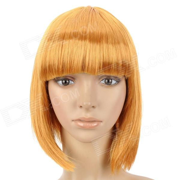 Cosplay Fashion Short Straight Hair Wig - Golden Yellow стоимость